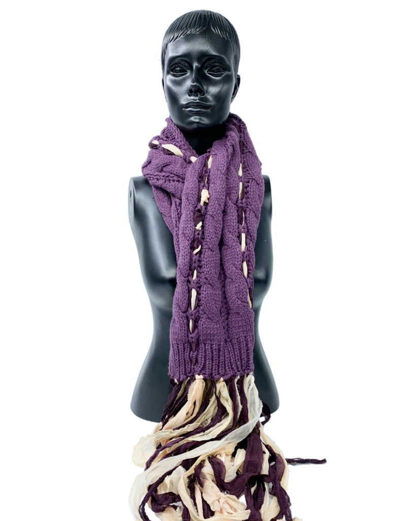 Upcycled Sari Ribbon Silk  on Knitted Cable Scarf/ Boho Scarf