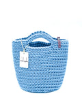 Scandinavian Style Handmade Crochet Bag with Short Handles Sky Blue