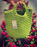Scandinavian Style Handmade Crochet Tote Bag with Small Handles Spring Green