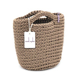 Scandinavian Style Handmade Crochet Tote Bag with Short Hands Taupe