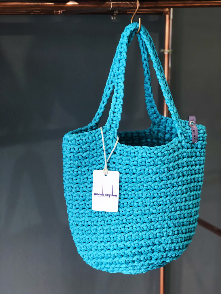Scandinavian Style Handmade Crochet Tote Bag  with Long Handles Teal