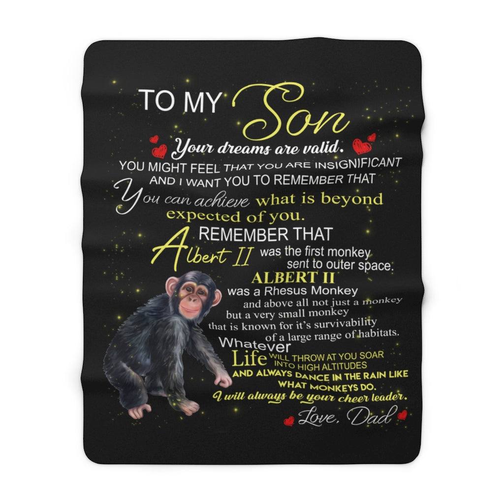 Albert the Monkey Sherpa Fleece Blanket (Son from Dad)