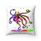 Dancing Octopus watercolor Spun Polyester Square Pillow