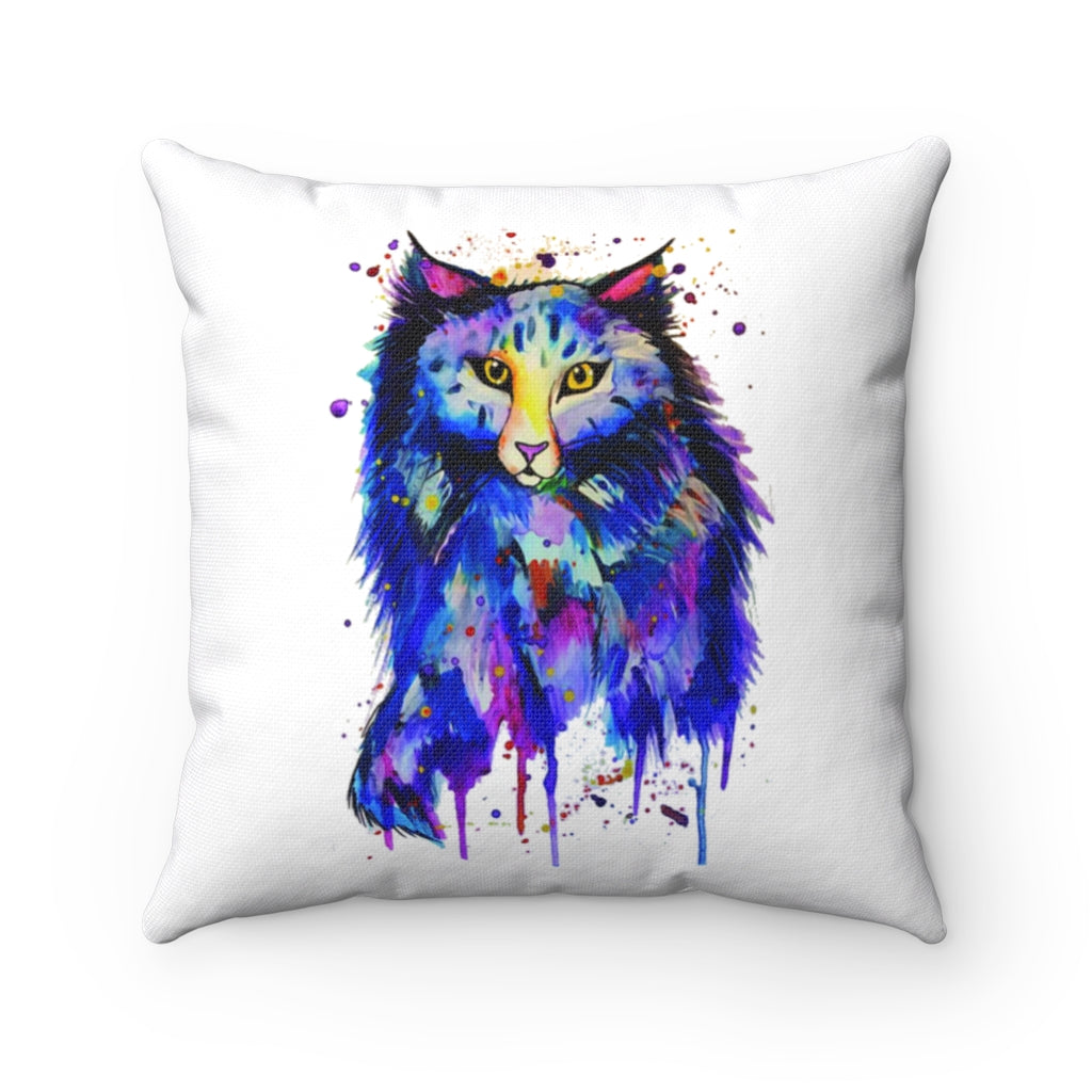 Cat watercolor Spun Polyester Square Pillow