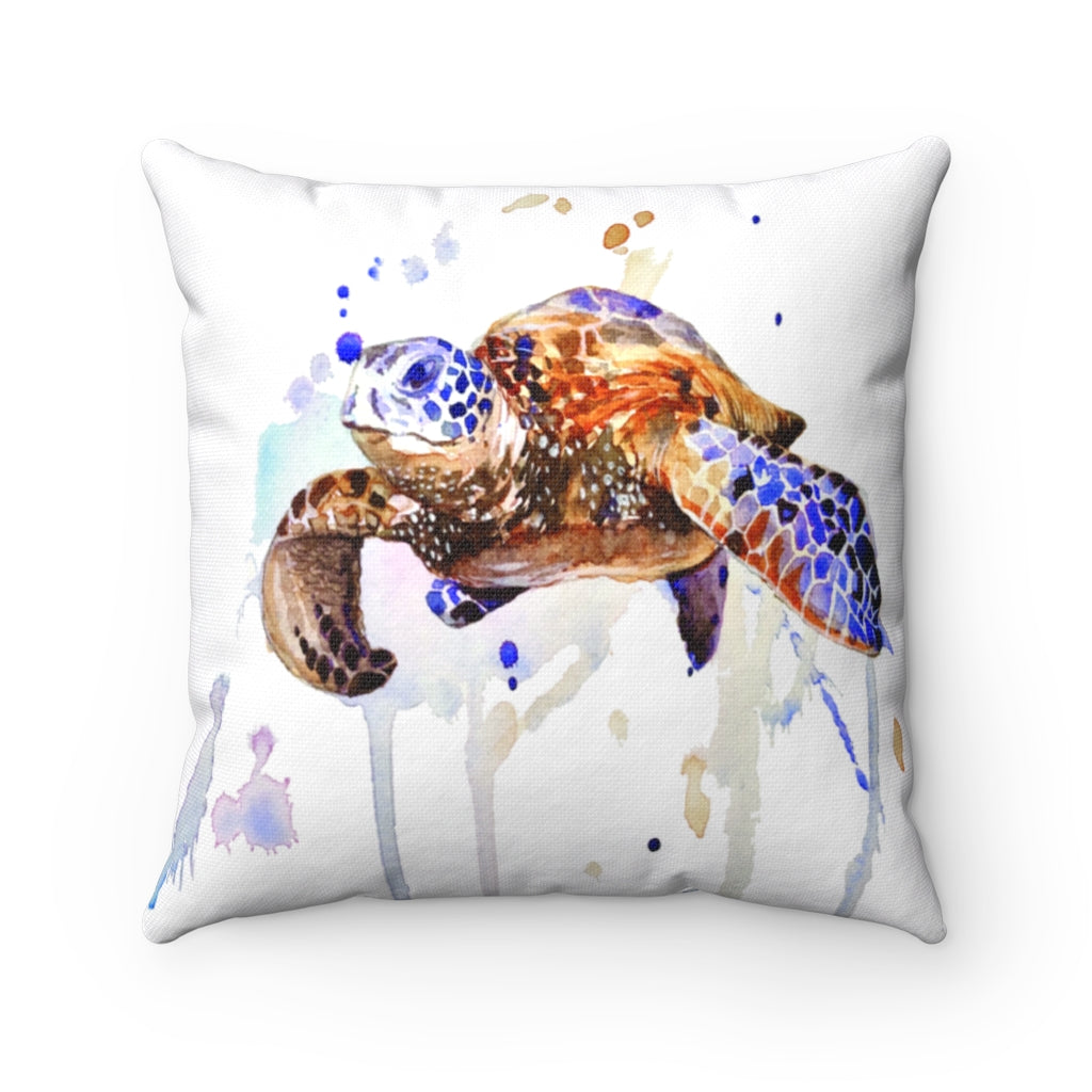 Turtle Watercolor Spun Polyester Square Pillow