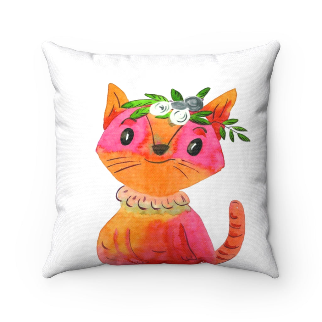 Crown Cute Cat watercolor Spun Polyester Square Pillow