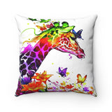 Tranquil Giraffe Watercolor Spun Polyester Square Pillow
