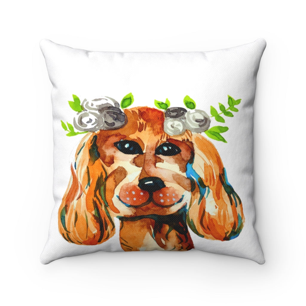Crown dog watercolor Spun Polyester Square Pillow