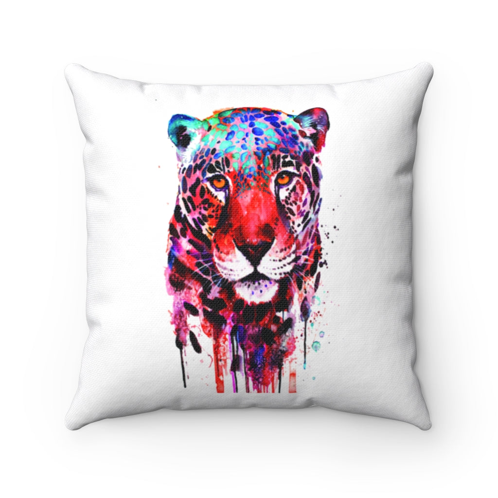 Front face Leopard watercolor Spun Polyester Square Pillow
