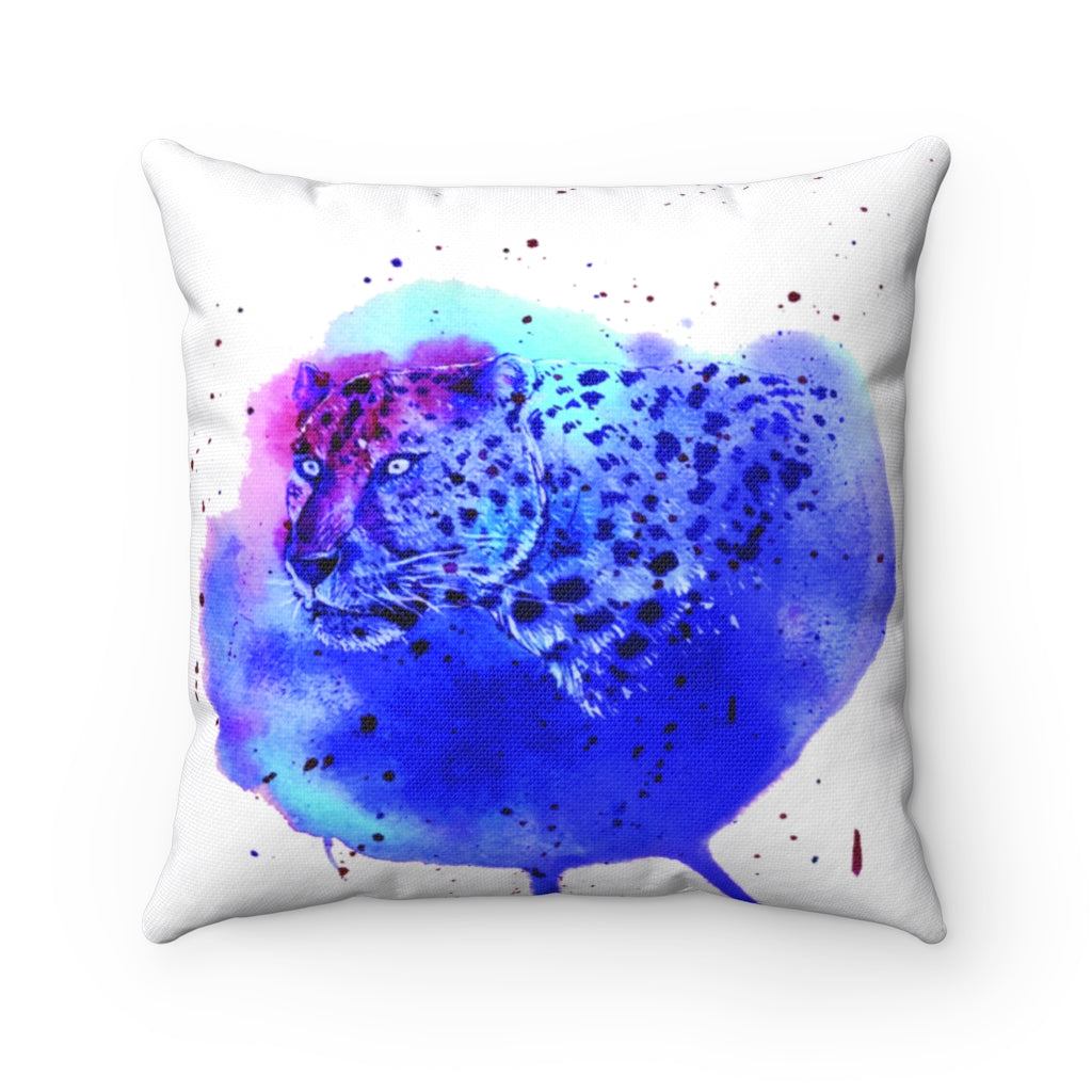 Blue Leopard watercolor Spun Polyester Square Pillow