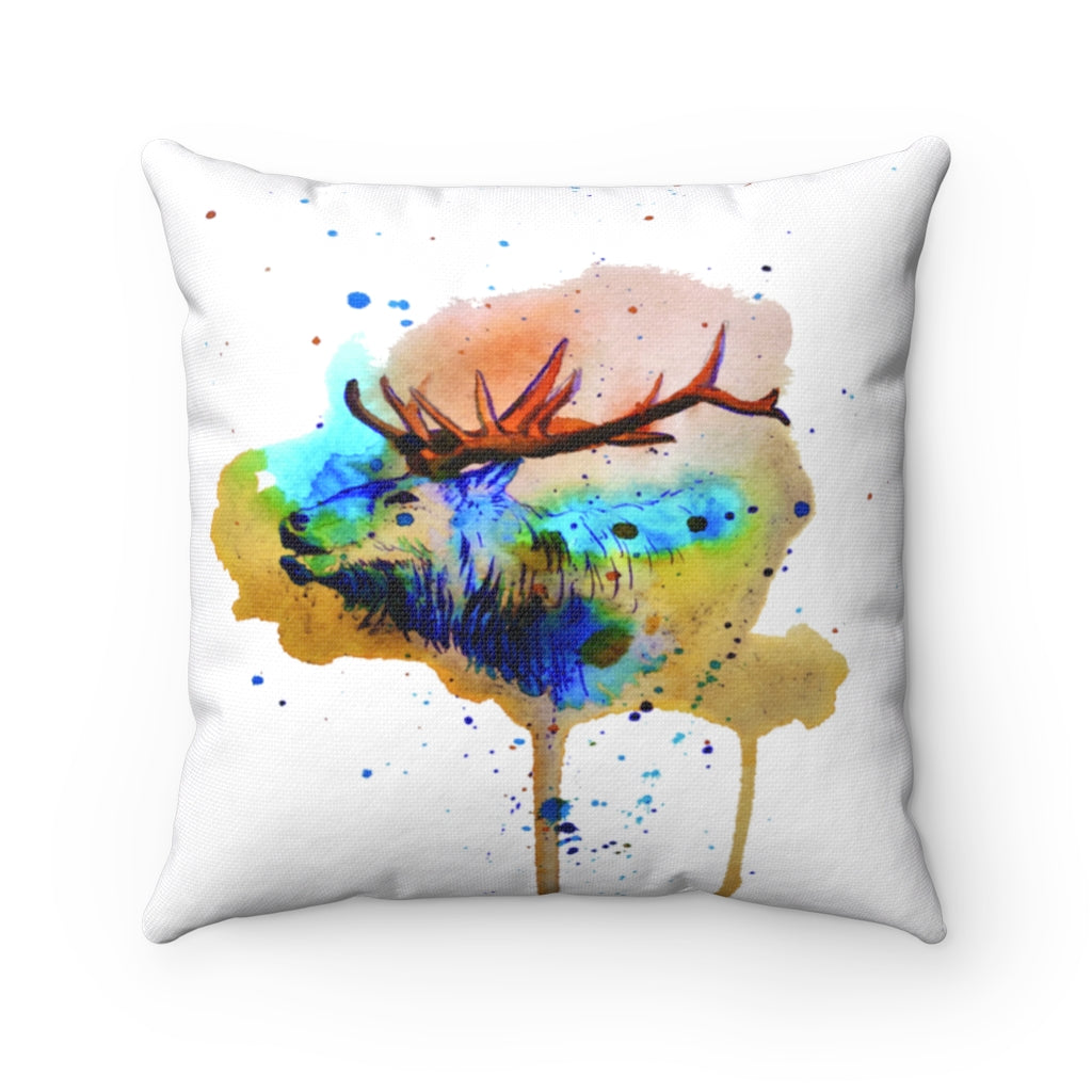 Jubilant Deer Watercolor Spun Polyester Square Pillow