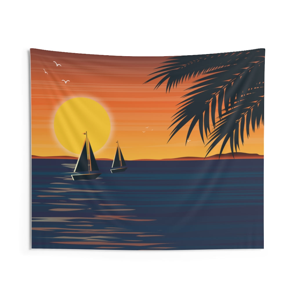Sunset and the Sea Indoor Wall Tapestries