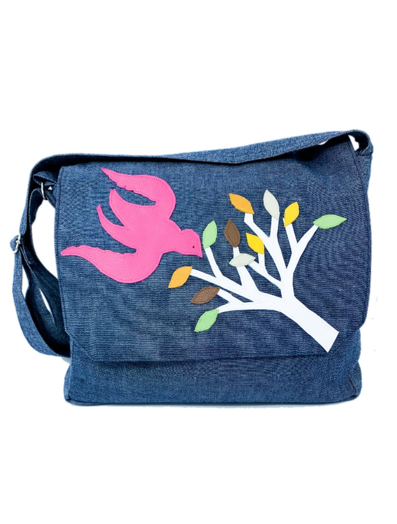 Upcycled Cotton Denim Messenger Bag with Leather Applique