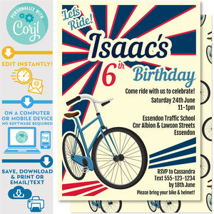 "PRINTABLE Retro Bike Invitation in Blue and Red 5"" x 7"""