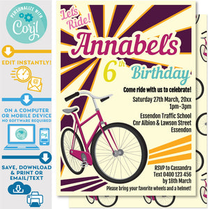 "PRINTABLE Retro Bike Invitation in Purple and Orange 5"" x 7"""