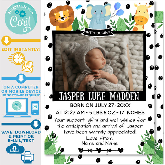 Birth Announcement Card Photo with Jungle Animals Design