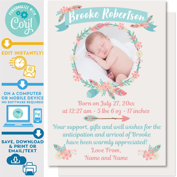 Birth Announcement Card Photo Wreath in Boho Feathers Design