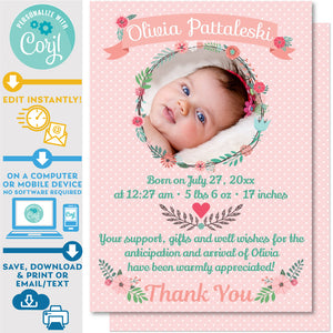 Birth Announcement Card Photo Wreath in Pink Floral Design