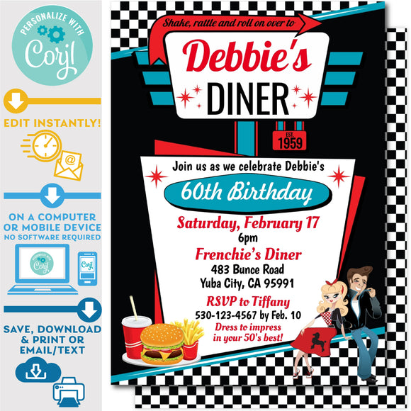 1950's Diner Invitation in Pink and Teal - Vintage Diner Invite in Black and Red