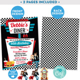 "PRINTABLE 50s Diner Invitation in Black and Red 5"" x 7"""