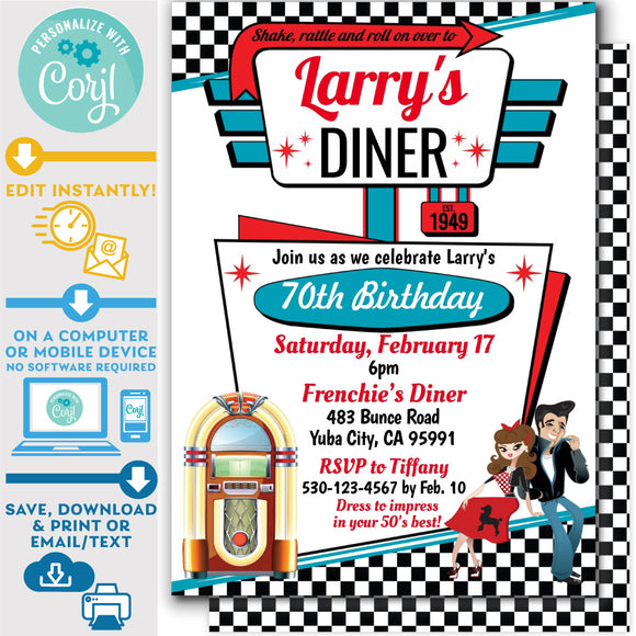 PRINTABLE 50s Diner Invitation in White, Red and Teal 5
