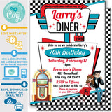 "PRINTABLE 50s Diner Invitation in White, Red and Teal 5"" x 7"""