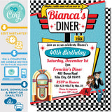 1950's Diner Invitation in Red, Teal and Yellow - Vintage Diner Invite in Pink and Teal
