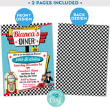1950's Diner Invitation in Pink and Teal - Vintage Diner Invite in Pink and Teal