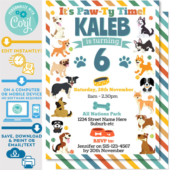 PRINTABLE Puppy Dog Paw-ty Theme Birthday Invitation 5