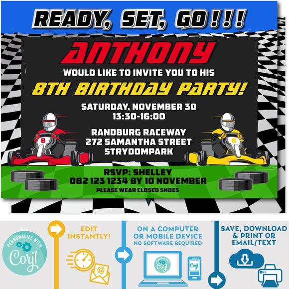 PRINTABLE Go Kart Racing Invitation Blue & Green 5