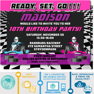 "PRINTABLE Go Kart Racing Invitation Pink & Purple 5"" x 7"""