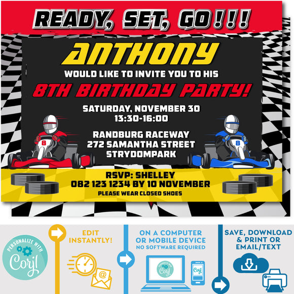 PRINTABLE Go Kart Racing Invitation Red & Yellow 5