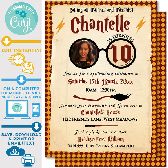 PRINTABLE Harry Potter Photo Invitation 5