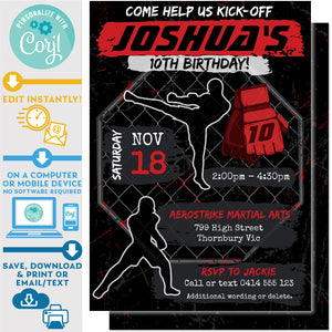 "PRINTABLE Martial Arts MMA Karate Boys Invitation in Black and Red 5"" X 7"""