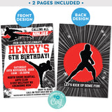 "PRINTABLE Karate Ninja Warrior Boys Invitation in Black and Red 5"" X 7"""