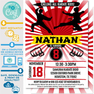"PRINTABLE Karate Kid Ninja Boys Birthday Invitation 5"" X 7"""