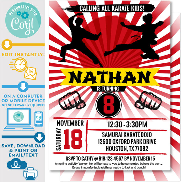 PRINTABLE Karate Kid Ninja Boys Birthday Invitation 5