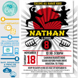 Karate Kid Ninja Boys Birthday Invitation Editable in Corjl