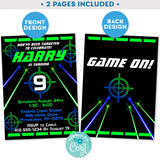 Laser Tag Invitation with Laser Beams in Neon Green and Blue Editable Invite Indoor Laser Tag Party