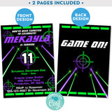 Laser Tag Invitation with Laser Beams in Neon Green and Purple Editable Invite Indoor Laser Tag Party