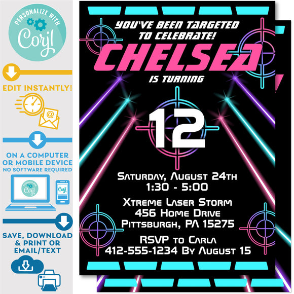 Laser Tag Invitation with Laser Beams in Neon Pink, Teal and Purple Editable Invite Indoor Laser Tag Party