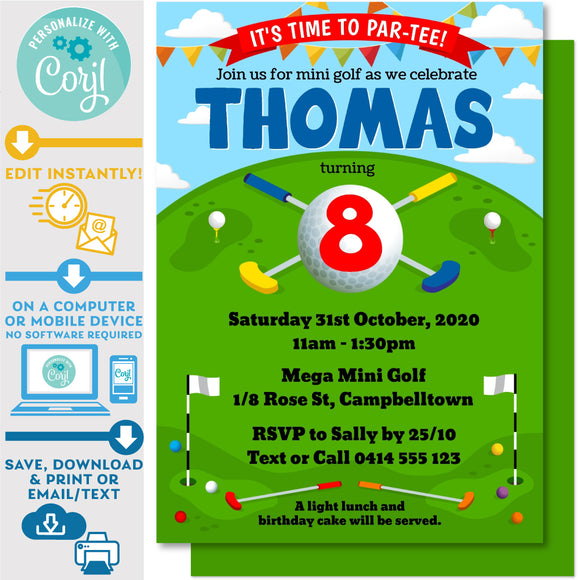 PRINTABLE Mini Golf Kids Birthday Invitation 5