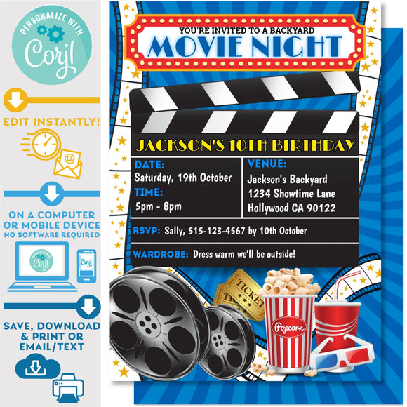 Movie Night Backyard Invitation Blue
