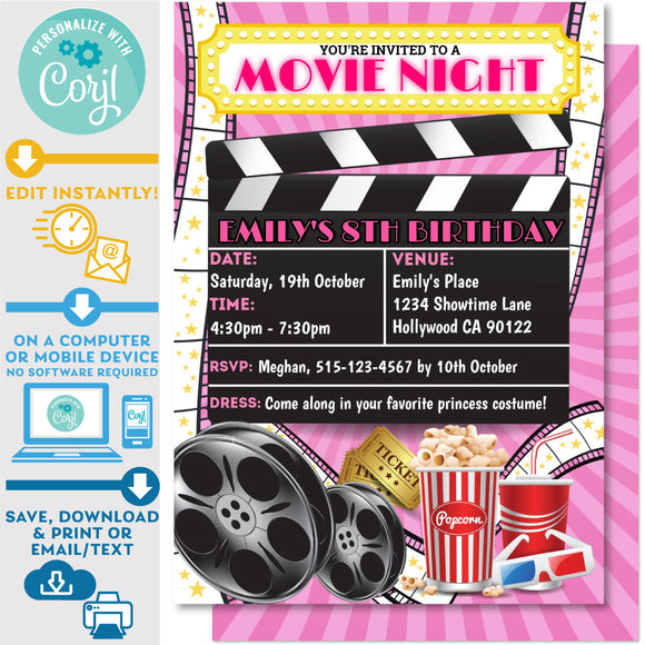 Movie Night Backyard Invitation