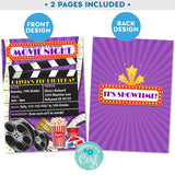 Movie Night Backyard Invitation Purple