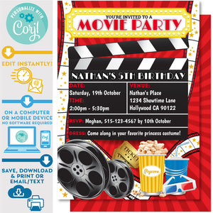 "PRINTABLE Movie Night Red Background Invitation 5"" x 7"""