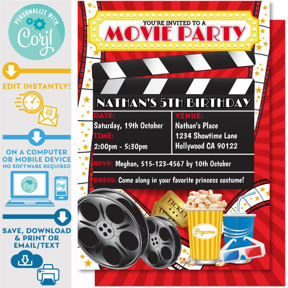 PRINTABLE Movie Night Red Background Invitation 5
