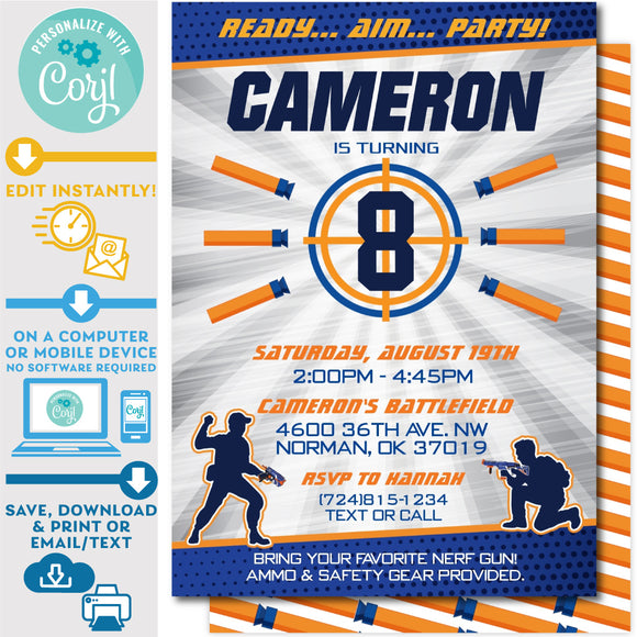 Nerf Party Play Dart Blaster Gun Wars Battle Invitation Invite editable Zazzle Store