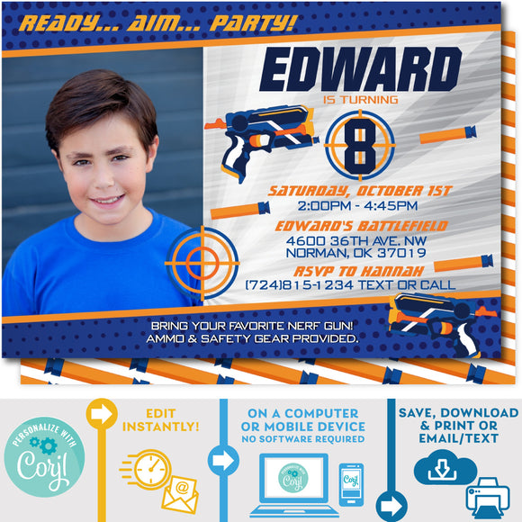 PRINTABLE Nerf Blaster Photo Invitation in Blue/Silver 5