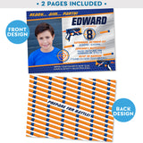 "PRINTABLE Nerf Blaster Photo Invitation in Blue/Silver 5"" x 7"""